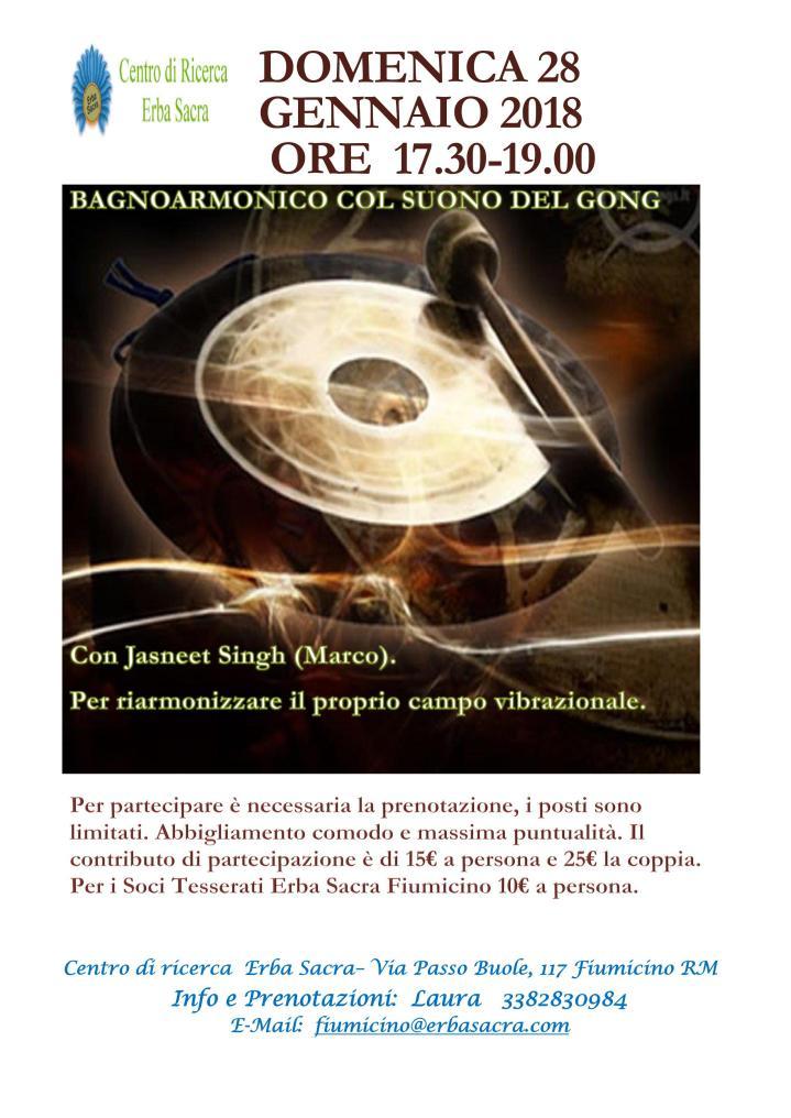 DOMENICA 28 Gennaio BAGNO ARMONICO CON IL SUONO DEL GONG